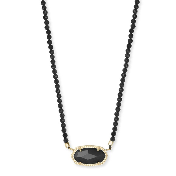 Kendra Scott Jewelry - Elisa Gold Beaded Pendant Necklace In Black Mix